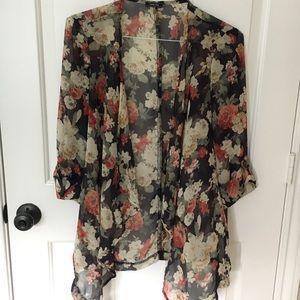 Black Floral Sheer Open Kimono/Cardigan Large